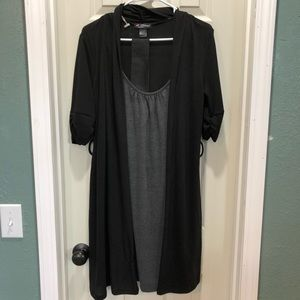 Women's dress with attached cardigan